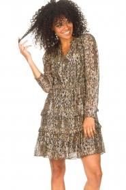 ba&sh |  Lurex dress with print Glen | green  | Picture 4