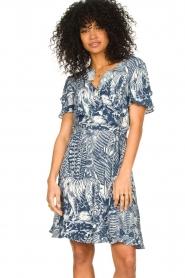 Silvian Heach |  Ruffles dress with wrap detail Albus | blue  | Picture 4