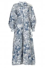 Silvian Heach |  Maxi dress with leafs print Ludo | blue  | Picture 1