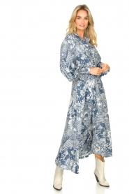 Silvian Heach |  Maxi dress with leafs print Ludo | blue  | Picture 2