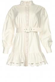 Silvian Heach |  Cotton dress with waist belt Kiuwa | white  | Picture 1