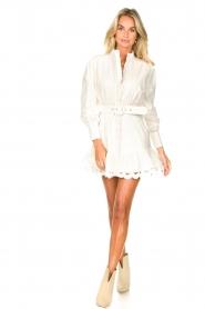Silvian Heach |  Cotton dress with waist belt Kiuwa | white  | Picture 3