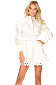 Silvian Heach |  Cotton dress with waist belt Kiuwa | white  | Picture 4