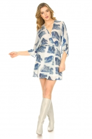 Silvian Heach |  Dress with batwing sleeves Balwada | blue  | Picture 3