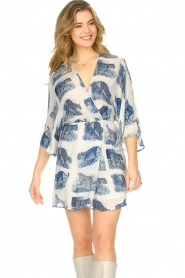 Silvian Heach |  Dress with batwing sleeves Balwada | blue  | Picture 4