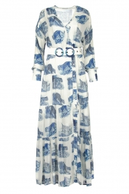 Silvian Heach |  Maxi dress with print Peakes | blue  | Picture 1