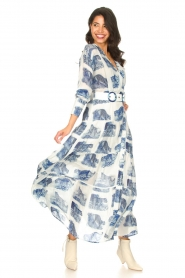 Silvian Heach |  Maxi dress with print Peakes | blue  | Picture 2