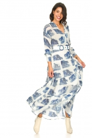 Silvian Heach |  Maxi dress with print Peakes | blue  | Picture 4