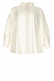 Silvian Heach |  Cotton oversized blouse with puff sleeves Wango | white  | Picture 1