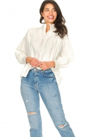 Silvian Heach |  Cotton oversized blouse with puff sleeves Wango | white  | Picture 2