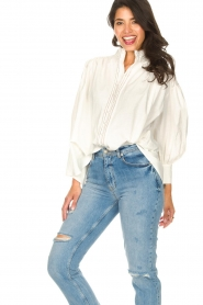 Silvian Heach |  Cotton oversized blouse with puff sleeves Wango | white  | Picture 5