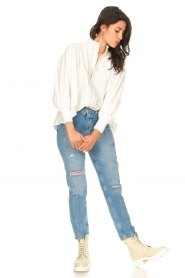 Silvian Heach |  Cotton oversized blouse with puff sleeves Wango | white  | Picture 3