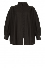 Silvian Heach |  Cotton oversized blouse with puff sleeves Wango | black