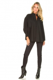 Silvian Heach |  Cotton oversized blouse with puff sleeves Wango | black  | Picture 3