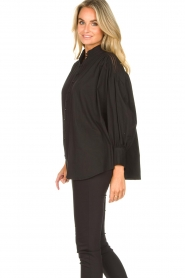 Silvian Heach |  Cotton oversized blouse with puff sleeves Wango | black  | Picture 5