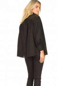 Silvian Heach |  Cotton oversized blouse with puff sleeves Wango | black  | Picture 6