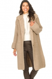 Set |  Long knitted cardigan Bloom | taupe  | Picture 4