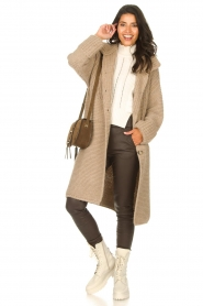 Set |  Long knitted cardigan Bloom | taupe  | Picture 3