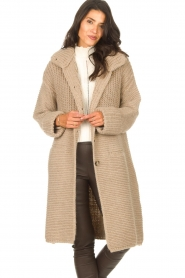 Set |  Long knitted cardigan Bloom | taupe  | Picture 5