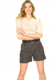 Silvian Heach |  Lurex striped short Susani | black  | Picture 2