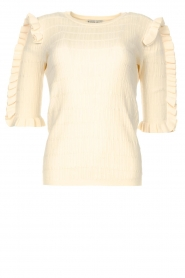 Silvian Heach |  Sweater with ruffles Alastor | beige