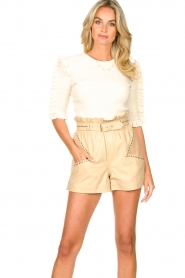 Silvian Heach |  Sweater with ruffles Alastor | beige  | Picture 3
