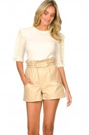 Silvian Heach |  Sweater with ruffles Alastor | beige  | Picture 4