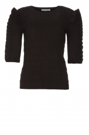 Silvian Heach |  Sweater with ruffles Alastor | black  | Picture 1