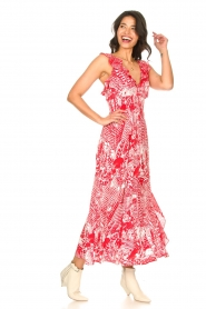 Silvian Heach |  Maxi dress with print Sirius | red  | Picture 5
