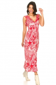 Silvian Heach |  Maxi dress with print Sirius | red  | Picture 4