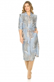 Silvian Heach |  Midi dress with shoulder pads Rye | blue  | Picture 3