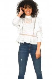 Silvian Heach |  Cotton broderie blouse Loria | white  | Picture 4
