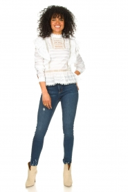Silvian Heach |  Cotton broderie blouse Loria | white  | Picture 3