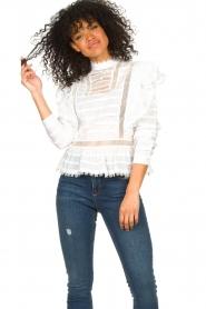 Silvian Heach |  Cotton broderie blouse Loria | white  | Picture 5