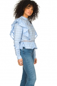 Silvian Heach |  Cotton broderie blouse Loria | blue  | Picture 5