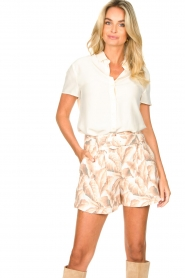 Silvian Heach |  Short with leaf print Mantova | pink   | Picture 4