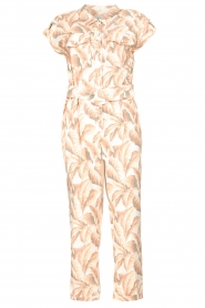 Silvian Heach |  Jumpsuit with leafs print Catriona | pink  | Picture 1