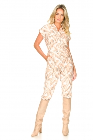 Silvian Heach |  Jumpsuit with leafs print Catriona | pink  | Picture 2