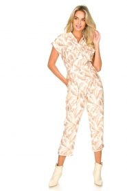 Silvian Heach |  Jumpsuit with leafs print Catriona | pink  | Picture 3