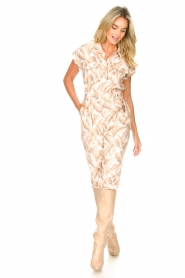 Silvian Heach |  Jumpsuit with leafs print Catriona | pink  | Picture 4