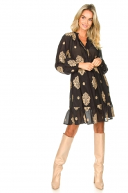 Silvian Heach |  Dress with ruffles Quintius | black  | Picture 3
