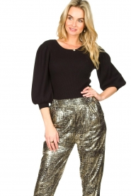 Set |  Ribbed sweater with puff sleeves Luf | black  | Picture 2