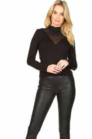 Set |  Stretch top with sheer details Nina | black  | Picture 2