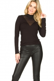 Set |  Stretch top with sheer details Nina | black  | Picture 4
