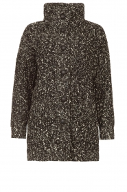 Liu Jo |  Long knitted cardigan with lurex | black  | Picture 1