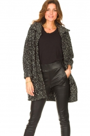 Liu Jo |  Long knitted cardigan with lurex | black  | Picture 4