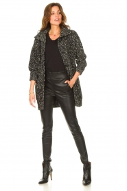 Liu Jo |  Long knitted cardigan with lurex | black  | Picture 3