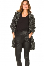 Liu Jo |  Long knitted cardigan with lurex | black  | Picture 2