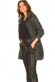 Liu Jo |  Long knitted cardigan with lurex | black  | Picture 5