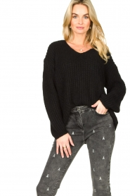 Set |  Chunky knitted sweater Saar | black  | Picture 2